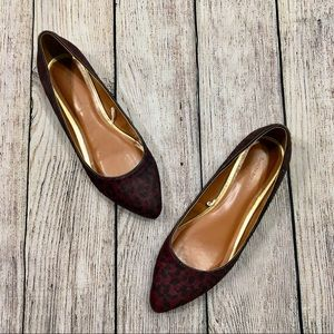 {banana republic} Purple Leopard Calf Hair Flats